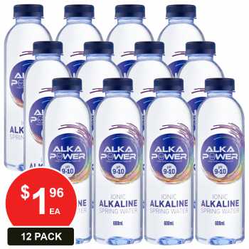 12 Pack, Alka Power 600ml Ionic Alkaline Water