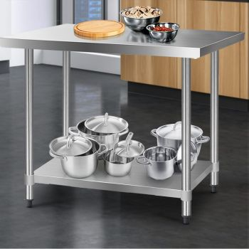 Cefito 1219x610mm Stainless Steel Kitchen Benches Work Bench Food Prep Table 430 Food Grade Stainless Steel