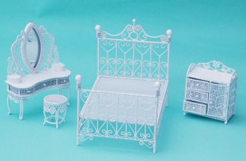 White Wiring Double Bed Bedroom Furniture Set