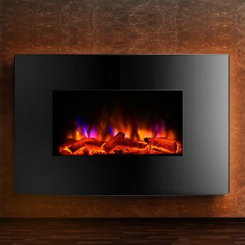 Electric Fireplace Fire Wood Heater Wall Mounted Heaters 3D Realistic Log Fire Flame Effect Quick Heating Winter Warm 2000W