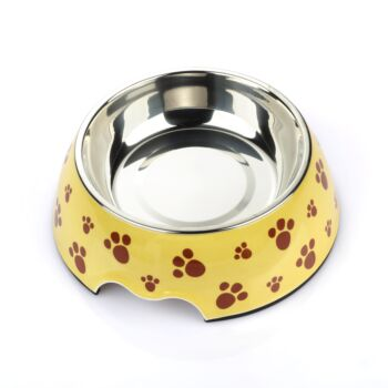 Charlie'S Pet Melamine Printed Pet Feeders With Stainless Steel Bowl  Pug Small