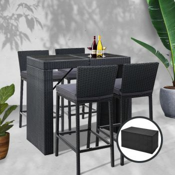 Outdoor Bar Table Furniture Dining Chairs Stools Set Rattan Patio Lounge Setting Bar Stools Gardeon