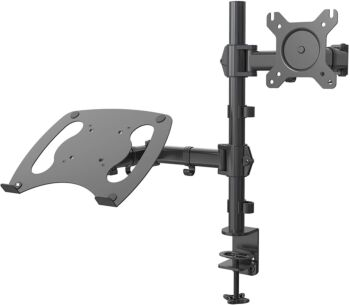 Dual Monitor Stand Mount + Tray Adapter for Laptop Desk Screen Holder Bracket