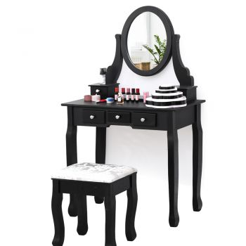 Levede Dressing Table and Stool Set with 1 Mirror and 5 Drawers in Black Colour