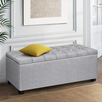 Artiss Blanket Box Storage Ottoman Fabric Foot Stool Sofa Chair Bed Toy Pouf