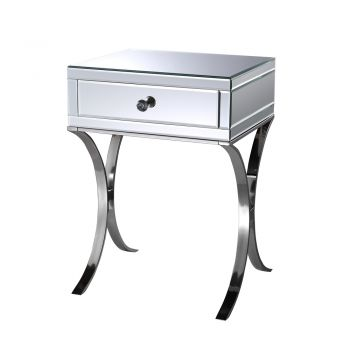 2x Levede Bedside Tables Nightstands 1 Drawers Side Table Mirrored Storage Cabinet
