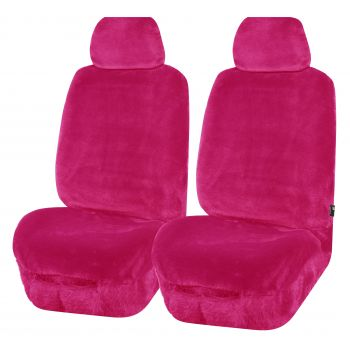 Universal Finesse Faux Fur Front Seat Covers Size 30/35 | Pink