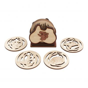 Home Décor - Australian Animals - 6 wooden coasters in stand