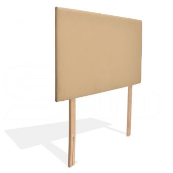 Levede PU Leather Bed Headboard with Wooden Legs in Double Size in Cream Colour