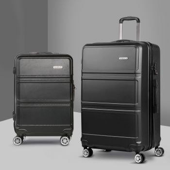 Wanderlite 2pc Luggage Sets Suitcase Black Trolley Set TSA Hard Case Lightweight