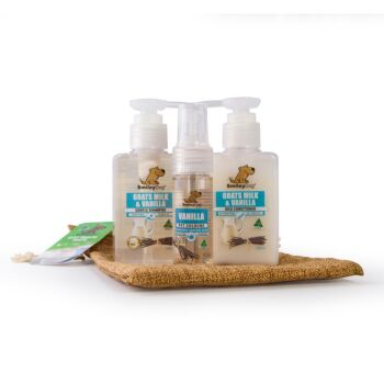 Smiley Dog Travel / Gift Pack in Hessian Bag - Natural Goats Milk with Vanilla Shampoo 100ml , Conditioner 100ml  & Cologne 30ml