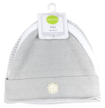 3 Pack Knitted Caps Grey/White