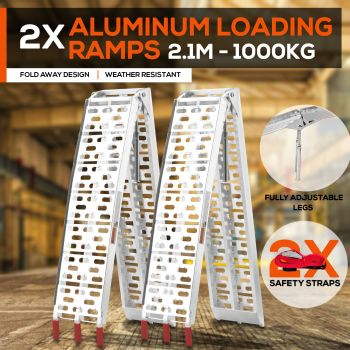2X ALUMINIUM FOLDING LOADING RAMPS ATV Motobikes Motorcycles Trailers Golf Buggy