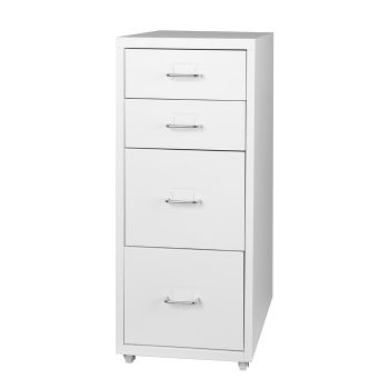 4 Drawer Filing Cabinet Storage Home Office Organiser in White
