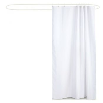 180x200cm White Waterproof Bathroom Shower Crutain with 12 Hooks