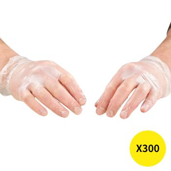 Disposable Gloves x300 Powder Latex Free Clear Vinyl PVC Protective Food L Large