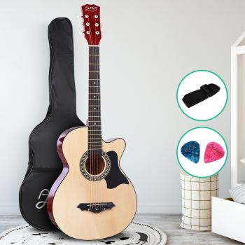 Guitar Acoustic Guitars 38 Inch Wooden Folk Classical Cutaway Steel String For Kids and Adult Natural Wood Alpha