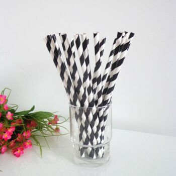1,000 Pack - Black White Hoop Biodegradeable Straws - 100% Natural Organic Eco Friendly Drinking Straws - Alternative to Plastic Throw Away