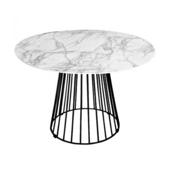 Liverpool Round Dining Table Marble Look - 110cm - White