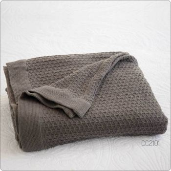 Pure Cotton Waffle Blanket Ash King 230x270cm Ash