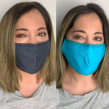 Pack of 2 Reusable 100% Cotton Fabric Face Masks with 2 x PM2.5 Filters in Blue & Grey