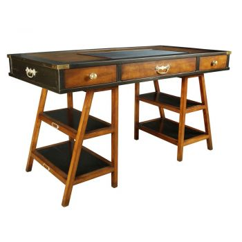 Navigator's Solid Timber Historical Office Writing Desk - Black