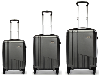 Swiss  Luggage Suitcase Lightweight with TSA locker 8 wheels 360 degree rolling HardCase 3 Pieces Set SN6612A&B&C-Black