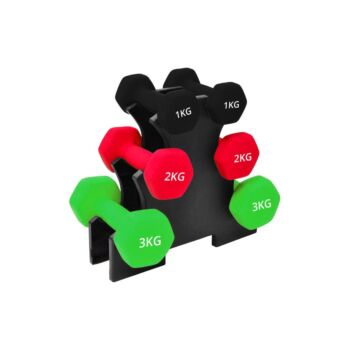 Verpeak Dumbbell Set Neoprene Weights, Anti-Slip with Cast Iron Core, for Home Gym Fitness Weightlifting Toning 12 KG Set With Rack