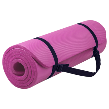 15MM NBR Yoga Mat Thick Nonslip Pad Fitness Wide Exercise Pilate Gym Strap Bag Pink