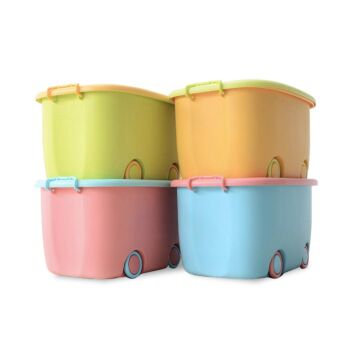 4 x Large Kids Toy Box Storage Containers Children Clothes Organiser with Wheels