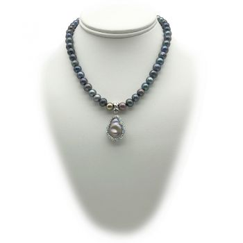 7-8mm Natural Peacock Blue Freshwater Pearl & Silver Baroque Pearl Glam Pendant