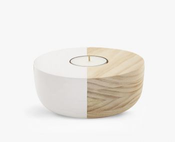 Small Wooden Bowl Maxi Tea Light Holder - Ivory