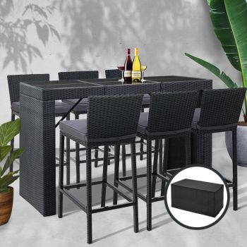 Outdoor Bar Table Patio Furniture Dining Chairs BAR Stools Wicker Set Rattan Lounge Outdoor Setting Gardeon