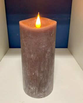 Rustic Grey 3D Flickering Flame LED Candle