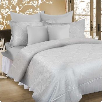 Queen Bed Quilt cover set SILVER
