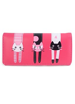 Dark Pink Large Cat Wallet Non Leather Fashionable Cat Lover With Printed Cat Design Per-Fect For A New Ladies Girls Purse Wallet
