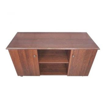 Sanz Return Office Desk with Adjustable Shelf/Cabinets - Rich Walnut