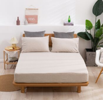 Dreamaker Cotton Jersey Fitted Sheet Set Double Bed Latte