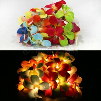 5 Sets of 20 LED Tropical Bright Colous Frangipani Flower Battery String Lights Christmas Gift Home Wedding Party Decoration Outdoor Table Centrepiece