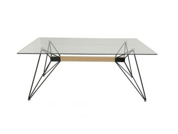 Japandi Web Dining Table - Tempered Glass - 180cm - Black