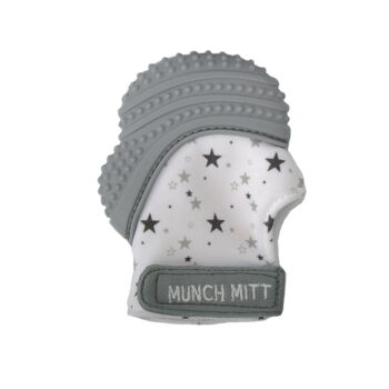 Munch Mitt Teething Mitten Grey Stars