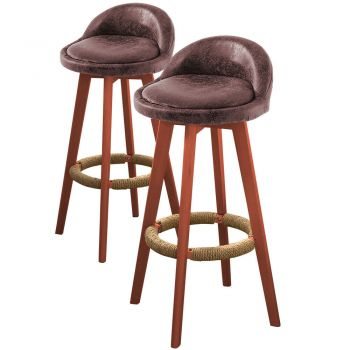 2x Levede Fabric Industrial Swivel Chair Bar Stools in Brown