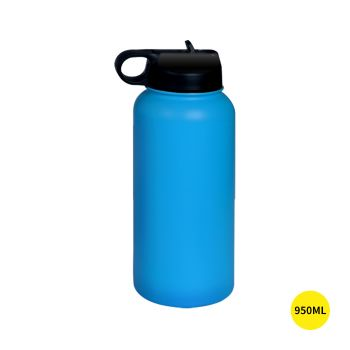 Stainless Steel Insulated Thermos Water Bottle Straw in Blue