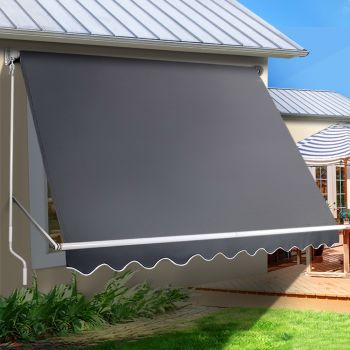 Instahut Retractable Fixed Pivot Arm Window Awning Patio Blinds 2.8X2.1M Grey