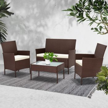 Outdoor Furniture Outdoor Lounge Setting Rattan Set Patio Chairs Table Gardeon 4PCS Brown