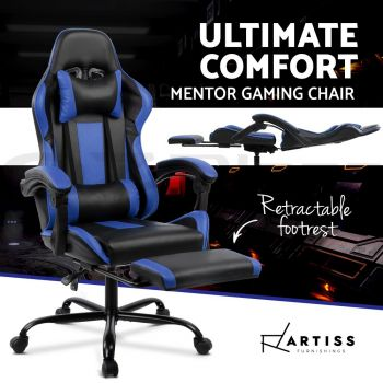 Artiss Gaming Chair Office Computer Seating Racing PU Leather Executive Racer Black Blue