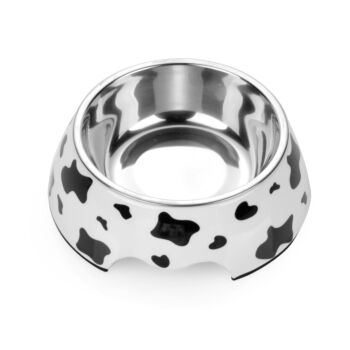 Charlie'S Pet Melamine Printed Pet Feeders With Stainless Steel Bowl  Cow Small