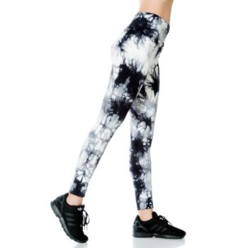 Jerf- Womens-Burela Black and White - Tie and Dye All Over Print - Active Leggings
