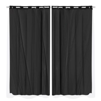 2x Blockout Curtains Panels 3 Layers Room Darkening 240x213cm in Black