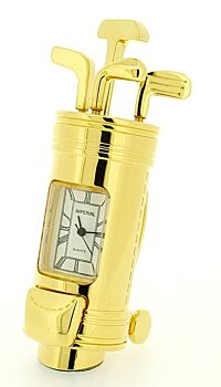 5 Pack of Gold Golf Bag Clock - desktop room shed ornamental birthday xmas father day gift